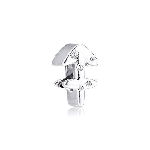 LILANG Pandora 925 Pulsera de joyería de Plata de Ley auténtica Natural Brillante Sagitario Zodiaco Encanto se Adapta a Cuentas de Plata para Mujeres Regalo DIY