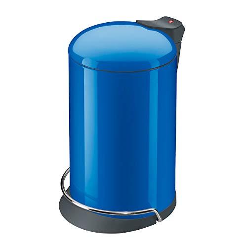 Hailo ProfiLine Solid Design M Mülleimer (aus Stahlblech, 12 Liter, Deckeldämpfung (Soft Close) breite Metall-Fußreling, verzinkter Inneneimer, selbstlöschend) 0514-120