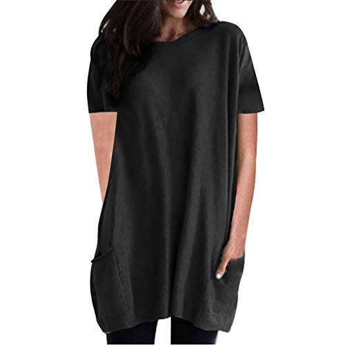 TITIU Damen Plus Size Unregelmäßige Mode Lose Leinen Kurzarm Shirt Vintage Bluse Tank Tee Oberteil Top