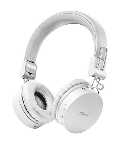 Trust Mobile Tones Auriculares Inalámbricos Bluetooth (Reproducción de 25 Horas, Rango de 10 m, Unidades de Altavoz de 40 mm, Diseño Plegable) Blanco