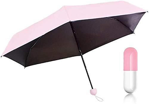 YQDHB Paraguas de cápsula Mini Ultraligero Protección UV Protector Solar Paraguas de Bolsillo Plegable de Doble Uso Paraguas Plegable, Pink