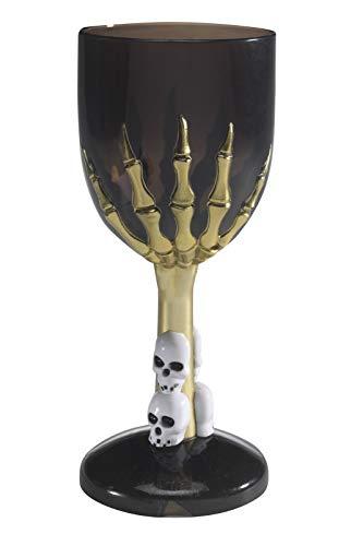 Smiffys Verre de vin gothique, Noir, avec pied main de squelette