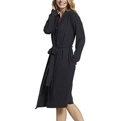 Yummie Women's Slub Knit Midi Lounge Robe, Black, S