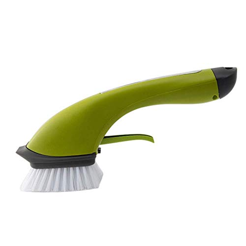 Keuken Reinigingsborstel, Anti Skid lange steel automatisch wasmiddel Spray Water Clean Brush Pan Brush (Groen) aijia (Color : Green)