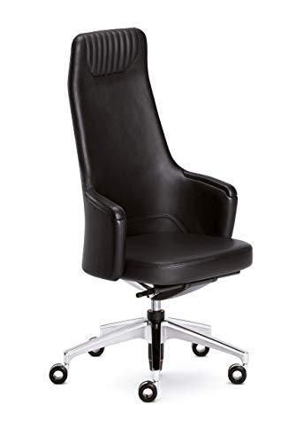 Sedus silent rush modern classic Stuhl, Designstuhl, Drehstuhl, Bürostuhl, Schreibtischstuhl, Drehsessel, Chefsessel, Leder, Schwarz