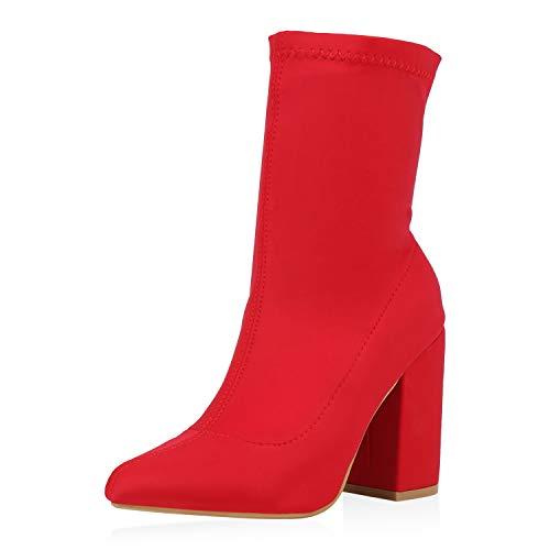 SCARPE VITA Damen Stiefeletten High Heels Blockabsatz Booties Schlupfstiefel Elegante Sock Boots Absatzschuhe Prints 177351 Rot 40