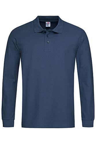 Stedman - Polo Homme Manches Longues Coton - L, Bleu Marine