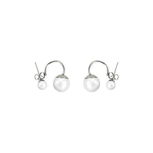 Bobury Doppia Imitate Orecchini Perla per Le Donne Fashion Girl Sterling Silver Jewelry Casuale