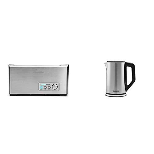 Gastroback 42398 Toaster (1500 Watt) edelstahl & 42436 Design Wasserkocher Cool Touch, doppelwandiger Edelstahl-Behälter 1,5 Liter, 2.200 Watt, 18/8, 1.5 liters, silber, schwarz