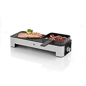 WMF Küchenminis Tischgrill elektrisch für 2 mit Gemüsepfännchen, Elektrogrill klein mit kompakter Grillfläche, variable Temperatureinstellung, 1000 W