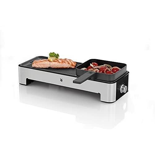 WMF Küchenminis Tischgrill für 2 mit Gemüsepfännchen, kleiner Elektrogrill mit kompakter Grillfläche und variabler Temperatureinstellung, 1000 W