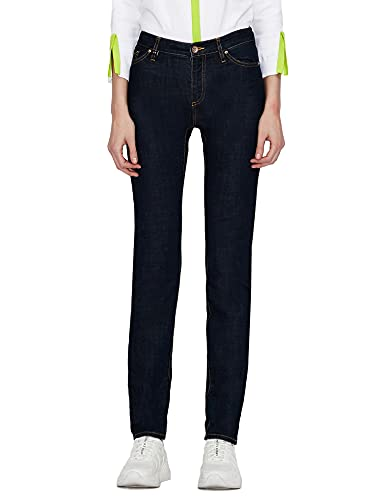 Armani Exchange Skinny Fit Jeans, Indigo Azul Vaquero, 28 para Mujer