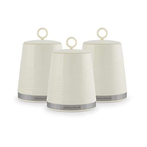 Morphy Richards 976006 Dune Kitchen Storage, Tea Coffee Sugar Set of 3 Canisters, Ivory Cream 976006-Set di 3 barattoli da Cucina, per tè, caffè, Zucchero, Colore, Crema Avorio, 1