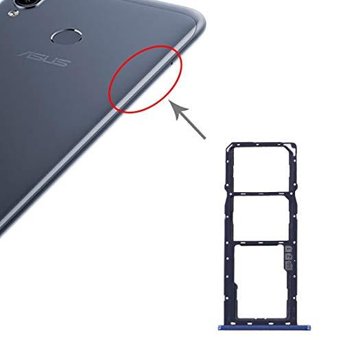 Compatibele Vervangings SIM-kaart lade + SIM-kaart lade + Micro SD-kaart lade for Asus Zenfone Max M2 ZB633KL Accessory (Color : Blue)