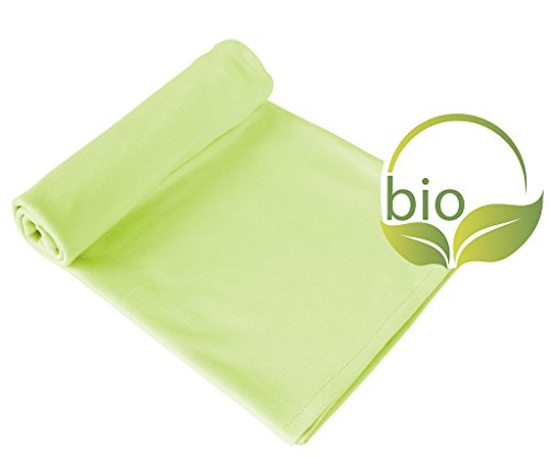 ByBoom® - Couverture bébé, couverture câlin, couverture premier-né, couverture d'été, 70x100 cm, 100% COTON BIO, Colour:Citron Vert/Citron Vert
