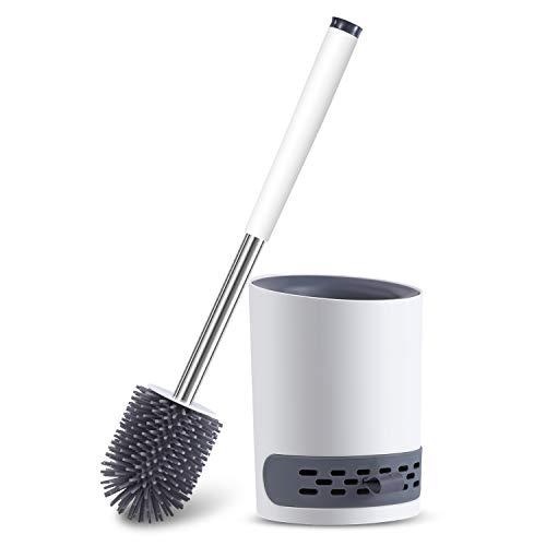 Toilettenbürste, WC Bürste Silikon und Behälter, WC-Bürste mit Schnell Trocknendem Haltersatz für Badezimmer Gäste-WC, Wandmontage & Stehen