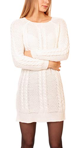 Easy Young Fashion Damen Pullover mit Zopfmuster Strickpullover Lang Pulloverkleid Grobstrick One Size Creme