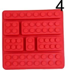 QWH Cuisine Accessoires Rectangulaire Lego Silicone Chocolat Moule Gâteau Outils Glace Gelée Bonbons Moule Cuisson Pâtisserie Outils, 4