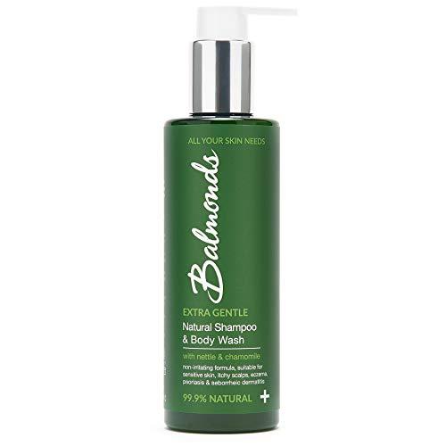 Balmonds - Natürliches Shampoo und Duschgel - 99,9 Prozent Natürliche - Inhaltsstoffe zur Linderung von trockener, juckender Haut und Schuppen - 200ml - Anti-Schuppen-Shampoo