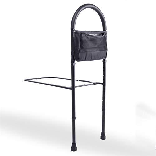 Hchao Ältere Handlauf-Bettgitter mit Aufbewahrungstaschen, Griff aus Edelstahl, wasserdichter Korrosionsschutz, Gesamthöhe kann auf 4 cm eingestellt Werden