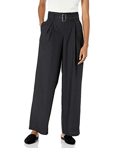 The Drop Women's Julia Loose High-Waist Belted Pleated Tapered Leg Poplin Pant