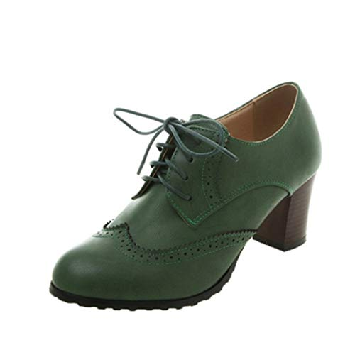 Zapatos Oxford para Mujer Zapatos Informales Impermeables con Plataforma Punta Redonda tacón...