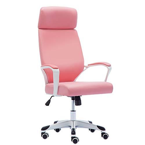 JL Comfurni - Sedia da ufficio per lavorare al computer rosa