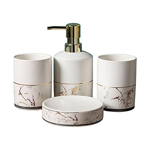 LULIJP Bathroom Wash Set Marble Pattern Bathroom Four-Pieces Kit Bathroom Accessories Set Toilet Bath Shower Set (Color : White, Size : Free)