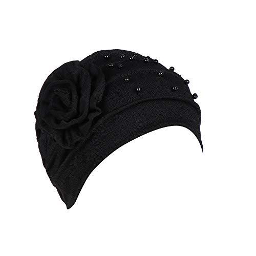 YEBIRAL Damen Bördeln moslemisches Rüsche Chemo Beanie Hüte BlumenTurban Wickelkappe Caps (Einheitsgröße, Schwarz)