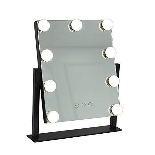 Oplaadbare make-upspiegel voor tafel, verlichte spiegel met led, energiebesparend, spiegel voor make-up, Hd, hoek vrij verstelbaar, in twee kleuren en maten
