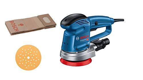 Bosch Professional Exzenterschleifer GEX 34-125 (inkl. Schleifteller-⌀ 125 mm, Schleifblatt C470 für Holz, Absaug-Adapter, Papierstaubbeutel, im Karton)