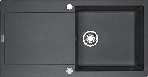 Franke Maris MRG 611-100 Fragranite DuraKleenPlus 1140176593 - Fregadero empotrable, montaje reversible, color negro