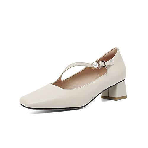 Youpin Zapatos de tacón alto para mujer, con hebilla cuadrada y perlas, de cuero auténtico, de tacón alto, para mujer, zapatos de boda (color: blanco, talla de zapato: 39)