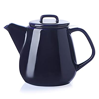 SWEEJAR Ceramic Teapot, Large Tea Pot with Stainless Steel Infuser, 40 Ounce, Blooming & Loose Leaf Teapot for Tea Lover, Gift, Family,(Navy)