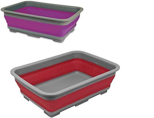 DFL Set x2 ciotole pieghevoli – Lavabo portatile da 10 litri ideale per camper, campeggio, roulotte, attività all'aperto, picnic, cucina e altro ancora, rosso e viola