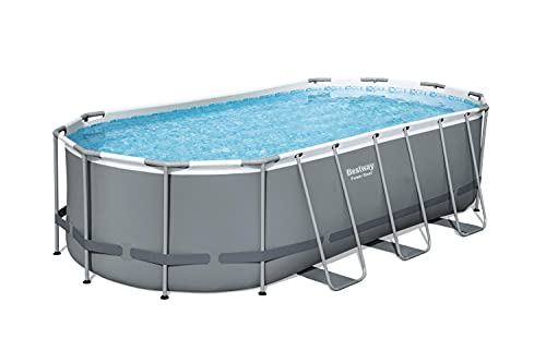 """Bestway 56711E Power Steel 18' x 9' x 48"""" Outdoor Oval Frame Above Ground Swimming Pool Set with 1500 GPH Cartridge Filter Pump, Cover, & Ladder, Gray"""