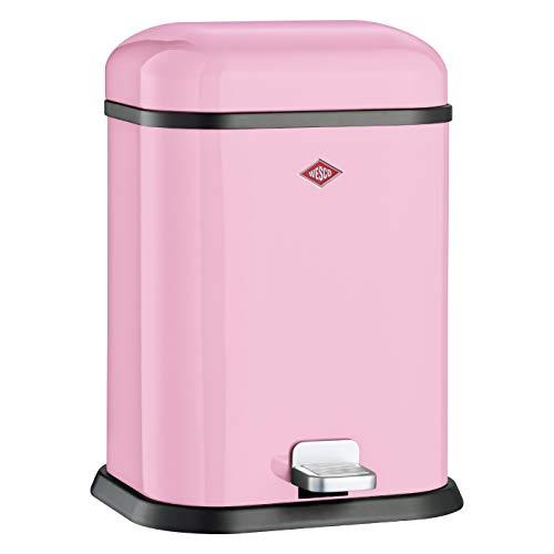 WESCO Single Boy Abfallsammler aus hochwertigem Metall in der Farbe Rosa mit einem Volumen von 13 Litern / Mit Fußtritt
