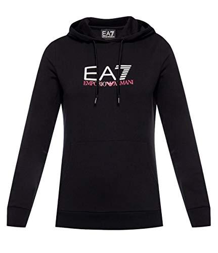 EA7 Emporio Armani 7 - Sudadera para mujer negra con capucha y logotipo - Talla XS
