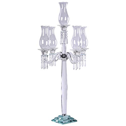 Efavormart 40' Tall Handcrafted 5 Arm Crystal Glass Hurricane Candelabra Candle Holder Wedding Centerpiece