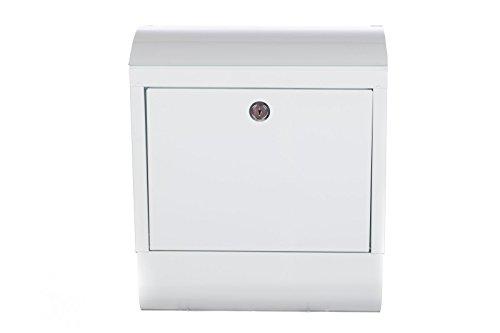Briefkasten LB-9007 Glänzend Weiss Wandbriefkasten Briefkasten Metall 40 cm hoch, extra Zeitungsrohr und dicker Briefschlitz (20 x 2 cm) . Mit Befestigungsmaterial für die Wand. mit 2 Schlüsseln , Rostfrei