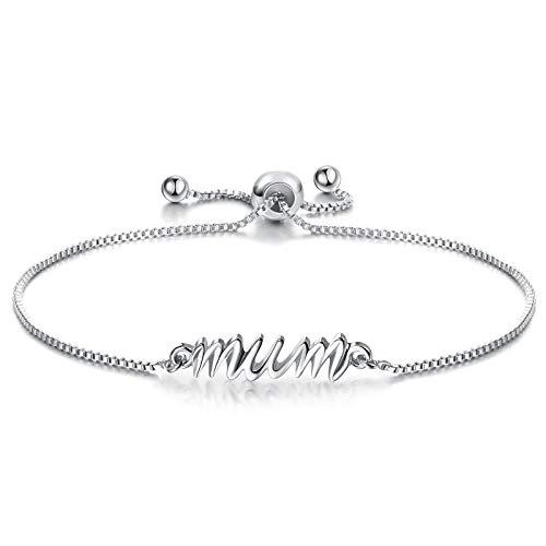 Charm Sister Mum Bracelet for Girls Cube Adjustable Sister Mum Bracelet for Christmas Birthday Graduation (Mum)