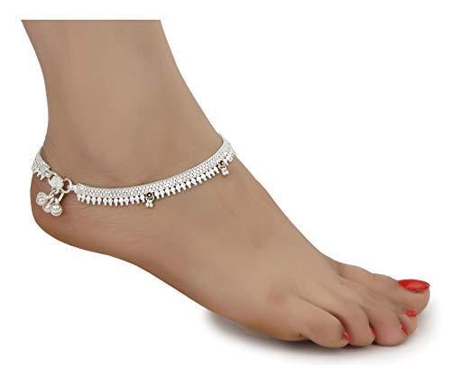 SataanReaper presenta tobilleras de metal blanco tradicional indias Payal para mujeres y niñas, colección de fantasía con chapado en plata adjunto Ghungroo Fashion Designer Barefoot #SR-2463