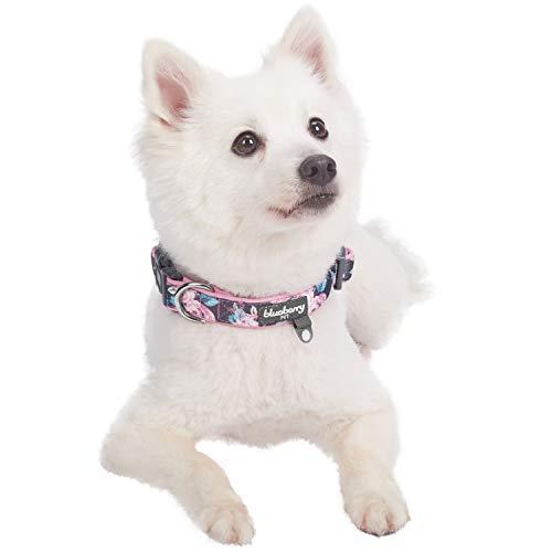Blueberry Pet 1,5cm S Klein Frühlingsgru? Rosig Bedruckt Niedliches Neopren-Gepolstertes Hundehalsband - 2