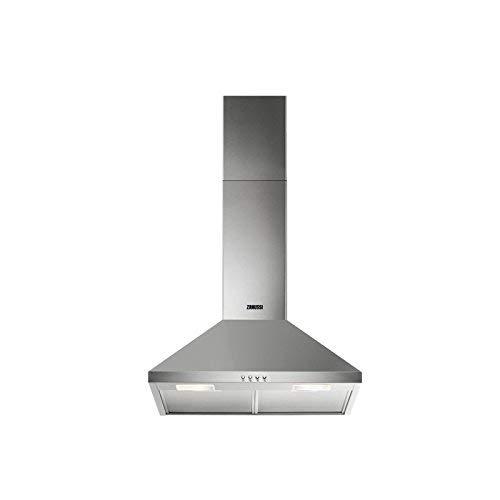 Zanussi ZHC62462XA Kamin-Dunstabzugshaube/Abluft oder Umluft / 60cm / Edelstahl/max. 225 m³/h/min. 57 – max. 70 dB(A) / D/Kurzhubtasten