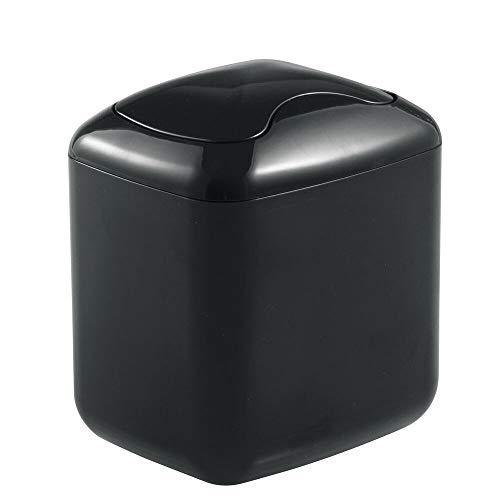 mDesign Papelera de plástico – el perfecto accesorio para el baño o para su oficina con un diseño moderno – Color: negro