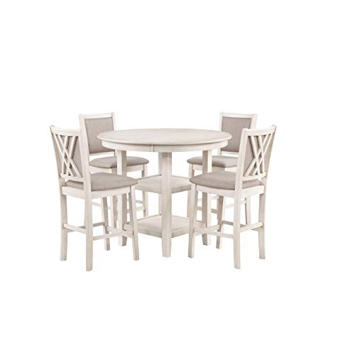New Classic Furniture Amy 5-Piece Counter Dining Table Set, Bisque