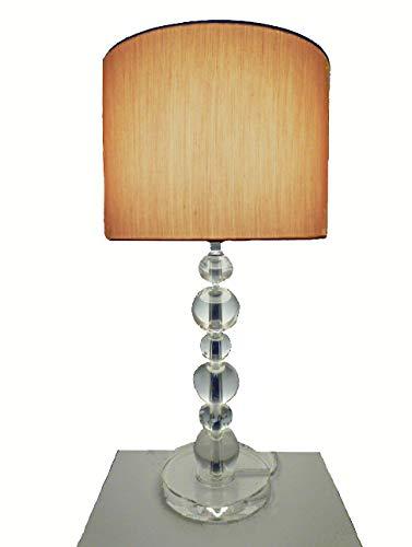 Dapo Tischleuchte mit LED Leuchtmittel, Lampe mit Kristallfuß und Seiden - Stoffschirm, Kristallleuchte Tischlampe (klar-Gold, Virag 49 cm)
