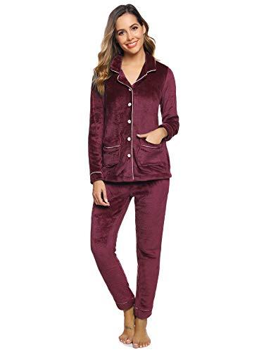 Aibrou Pijamas Mujer Invierno Polar Franela Conjunto de