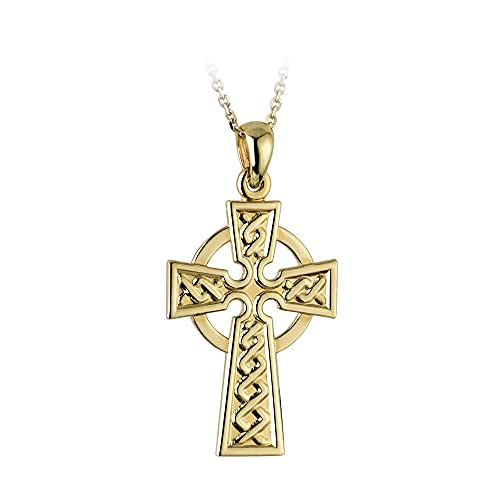 Biddy Murphy Celtic Cross Necklace Gold Plated Engraved Weave Made in Ireland