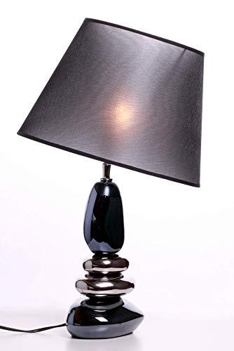 Amicaso Designlampe Blue-Silver Metallic Stone Designleuchte Tisch Nachttisch neigbarer Lampenschirm Keramikelemente Fassung E27 Silber-Blau Höhe 53cm